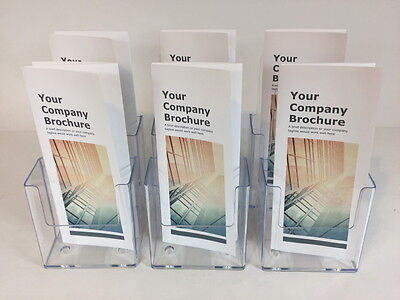 6-PACK of CLEAR ACRYLIC BROCHURE HOLDER TRIFOLD PAMPHLET LITERATURE DISPLAY