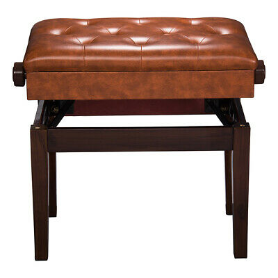"""Piano Bench 22x13"""" Seat Adjustable Height Leather Padded Keyboard Organ Throne"""