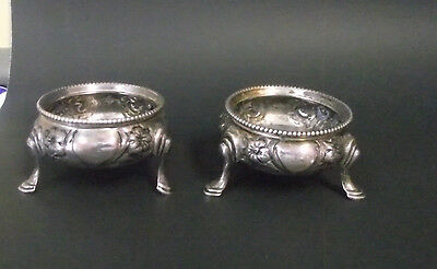 2 Footed Open Salt Cellars With Fancy Feet