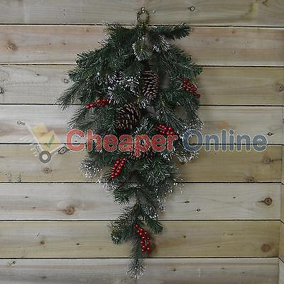 90cm Teardrop Christmas Swag with Pine Cones and Berries Green