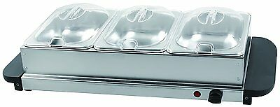 2000W Buffet Server Warming Tray Hotplate 3 Lids  Dinner/Party Stainless Steel
