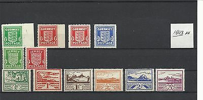 Guernsey - Jersey @ 1943 Ww Ii Issues Mnh @ Wv 1220