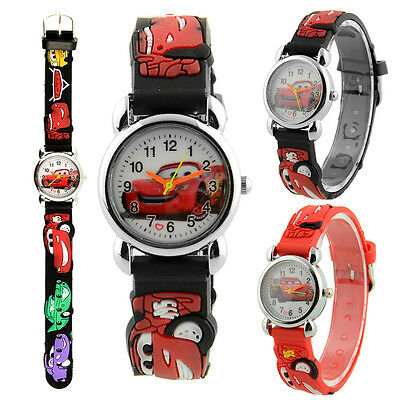 Cute Cartoon Car Printed Quartz Child Kids Wrist Watch Band Christmas Gift