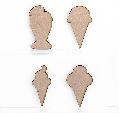 Wooden MDF Ice Cream Dessert Craft Shapes Decoration 3mm Thick Tags Blank