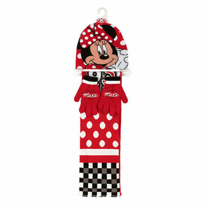 Official Minnie Mouse - Hat, Scarf & Gloves 3 Piece Set (Pink or Red)