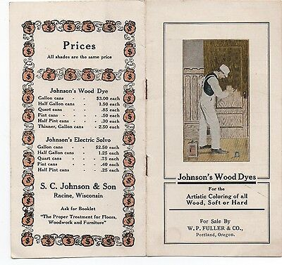 1920s Advertising Brochure w/ Color Samples for Johnson's Wood Dyes