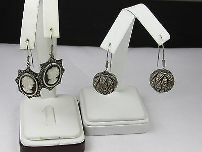**estate Sterling Silver Lot Of 2 Drop Earrings Marcasite Cameo 32.0 Grams