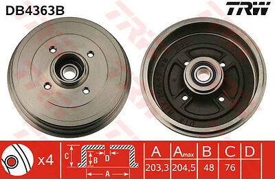 RENAULT CLIO Brake Drum Rear 2005 on DB4363B TRW 8200276843 Quality Replacement