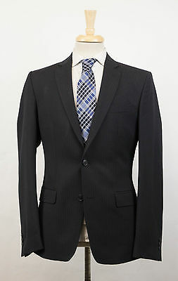 New. VERSACE COLLECTION Black Shadow Striped Wool 2 Button Suit 46/36 R $1395