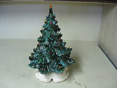 "Collectible Ceramic 2 Piece Lighted Tabletop Christmas Tree 17"" Tall White Base"