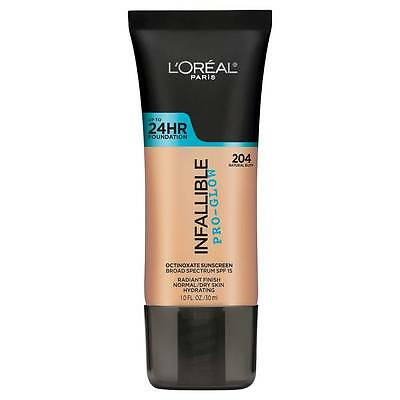 LOREAL Infallible Pro Glow Foundation, Natural Buff 204 NEW 24hr normal dry skin