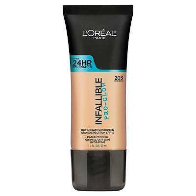 LOREAL Infallible Pro Glow Foundation, Nude Beige 203 NEW 24hr normal dry skin