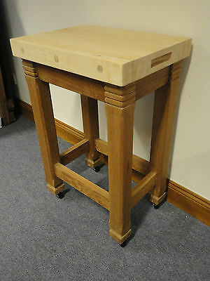 Lovely Antique Old Pine Butchers Block Country Rustic Table