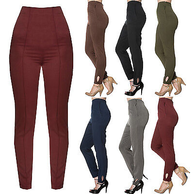 Womens Vintage Retro 1950s High Waist Slim Fit Cigarette Pants Career Trousers