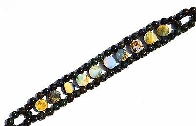 Super Rare Natural Gem Australian Boulder & Matrix Opal Smooth Beads Bracelet 7""