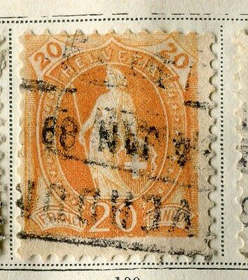 SWITZERLAND;  1882 early Standing Helvetia issue used 20c. value