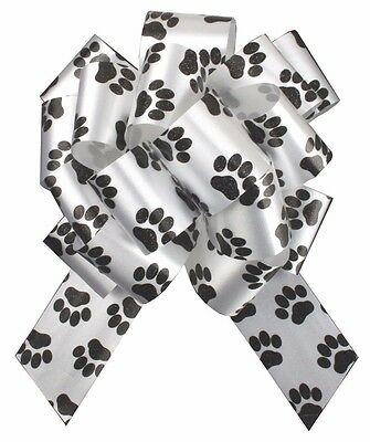 5 x DOG CAT PUPPY PAW PRINT PULLBOWS - Gift Basket Hamper Party Pull Bow