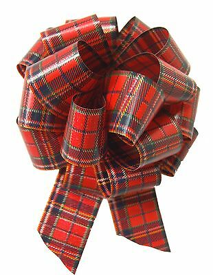 5 x RED TARTAN PULL BOWS - Christmas Gift Basket Hamper Party Ribbon Bow