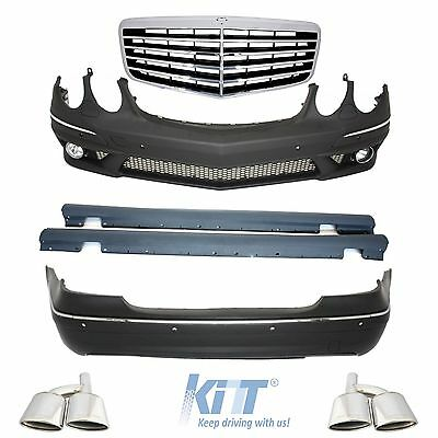 Mercedes W211 AMG E63 Body Kit  Side Skirts Bumper+PDC+TailPipes Exhaust+Grille