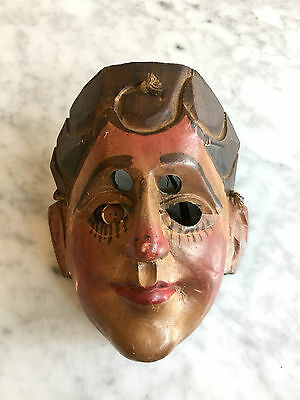 Guatemalan Wooden 1950-1970 Ethnographic Mask European Painted Eye Vintage VM70
