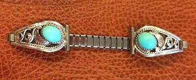 VTG Navajo Sterling Silver Turquoise feather Watch band Signed sterling SC
