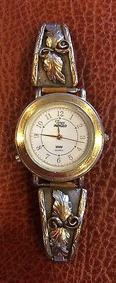 Vintage Navajo Gold Sterling Silver Watch band Marked1/20 12KTG.F. Timex indiglo
