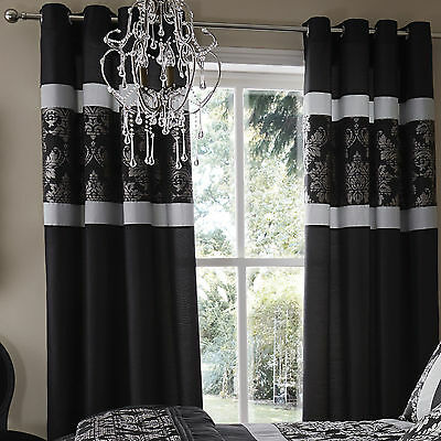 Catherine Lansfield Glamour Jacquard Black & Silver Fully Lined Eyelet Curtains