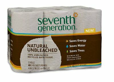 Seventh Generation Unbleached Bathroom Tissue Roll, 12 Count Pack of 4