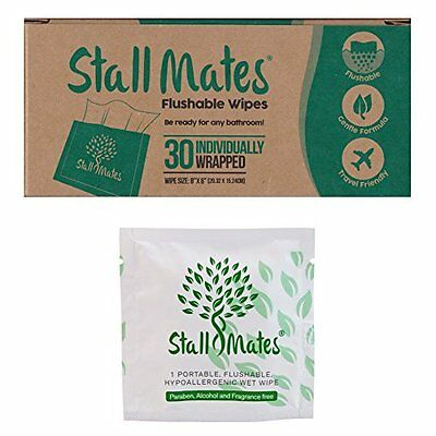 Stall Mates: Flushable, individually wrapped wipes for travel. 30 on-the-go