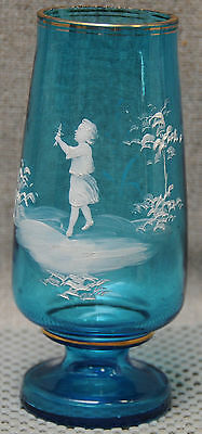 Antique Mary Gregory aqua glass six inch vase