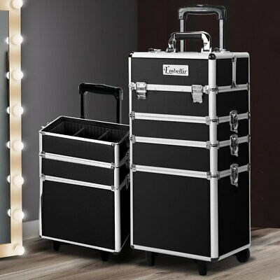 7 in 1 Portable Beauty Make up Cosmetic Trolley Case Black