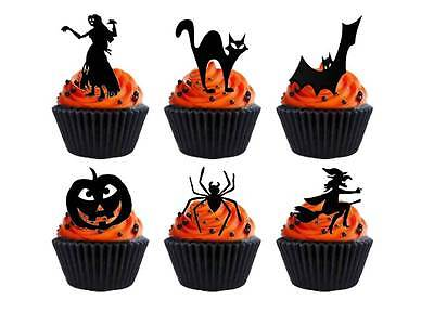 24 x Halloween Party Silhouette STAND UP UPS Cup Cake Toppers Edible Rice Paper