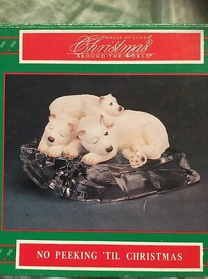 "Vintage House of Lloyd Polar Bear Mom Babies On Ice ""No Peeking Till Christmas"""