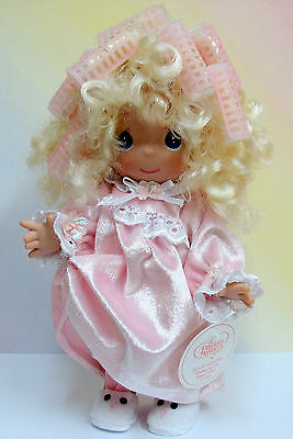 """PRECIOUS MOMENTS BLONDE DOLL CURLERS 10"""" - Don't Hate Me Because I'm Beautiful"""