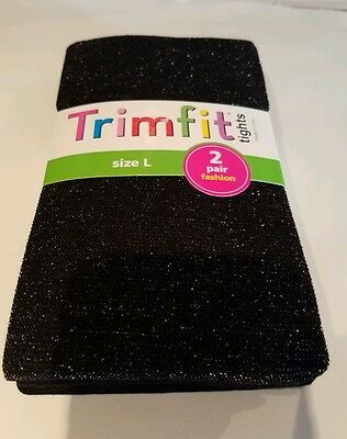 Girls Trimfit Brand 2 pk Black Sparkle & Solid Nylon Tights Large