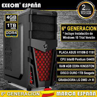Ordenador Gaming Intel G4400 4Gb Ram Ddr4 1Tb Usb3.0 Pc Sobremesa Marca España