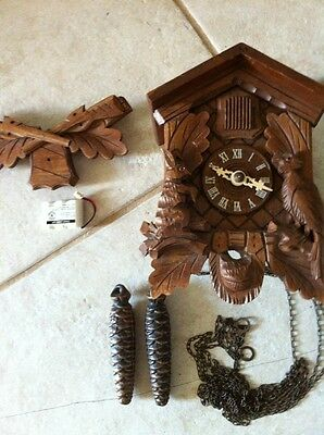Vintage Made In Germany Black Forest Cuckoo Clock For