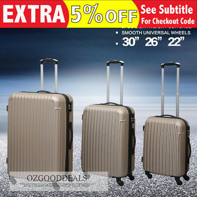 3pcs Lightweight Hard Shell Light Suitcase Luggage Baggage Champagne Gold Bronze