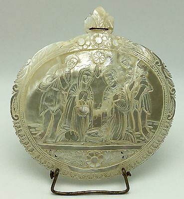 Souvenir of The Holy Land Mother of Pearl Carved Shell The Holy Nativity Abalone