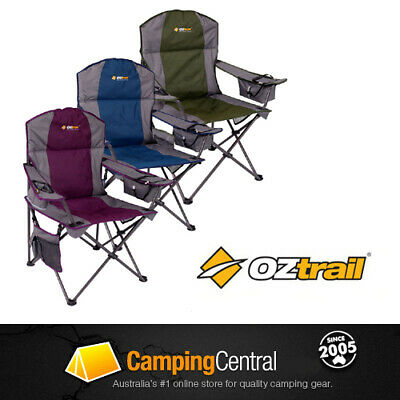Oztrail Cooler Chair Folding Camping Picnic Arm Outdoor (Purple, Blue or Green)