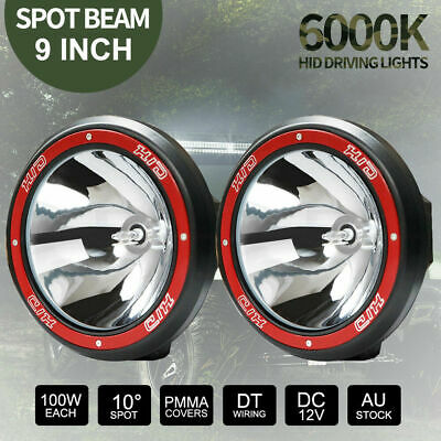 "9"" Inch 200W HID Spot Driving Lights XENON Spotlights Off Road 4WD Work 12V Red"