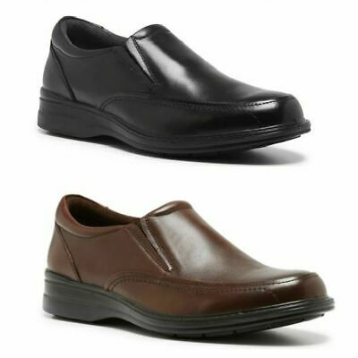 Mens Hush Puppies Transit Extra Wide Men Black Brown Leather Work Slip On Shoes