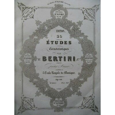 BERTINI CRAMER DE KONTSKI ZIMMERMAN Etudes Piano XIXe  Partition Sheet Music Spa