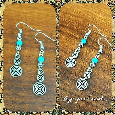Sterling Silver Hook Turquoise Aztec Swirl Earrings Gypsy Boho ONLY 3 PAIRS LEFT