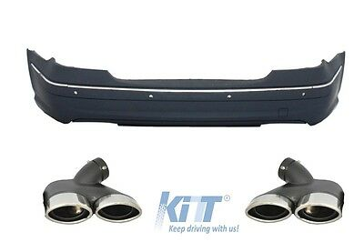 Mercedes E-Class W211 06-09 Rear Bumper AMG Design+Exhaust Muffler Tips Petrol