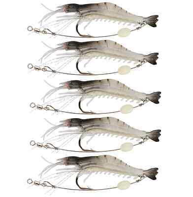 5 Soft Plastic Fishing Lures Tackle Prawn Shrimp Glow Bait Flathead Bream Lure