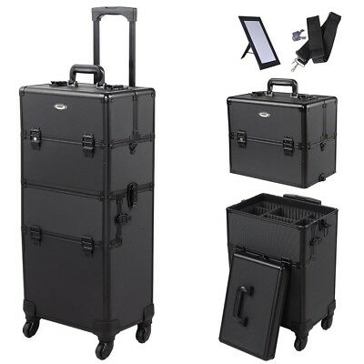 AW® 2in1 Pro 4 Wheel Rolling Makeup Cosmetic Train Case Aluminum Lockable Box
