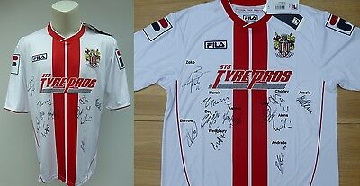2013-14 Stevenage Home Shirt Signed by 1st Team Squad + Signature Map (8944)