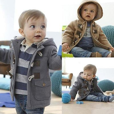 Winter Baby Boy Girl Kid Warm Hooded Coat Fleece Outerwear Snowsuit Jacket 0-5Y