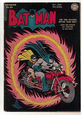DC Comics BATMAN Golden age #25 1944  CLASSIC COVER IN Story VG